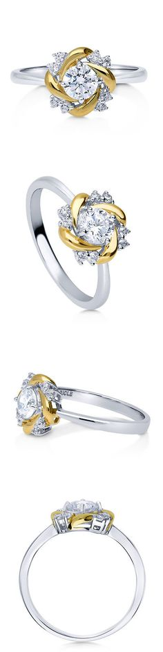 New Bridal and Wedding Party Jewelry Berricle Sterling Silver Cz Flower Promise Fashion Ring