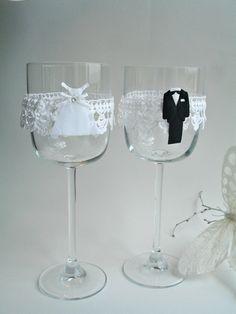 Toasting Set Wedding Wine Charm Wedding Table by WHITEStardust, $12.00