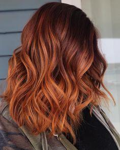 Red Balayage Hair, Hair Highlights, Copper Balayage Brunette, Hair Color Auburn, Red Hair Color, Color Red, Ginger Hair Color, Ombre Ginger Hair, Red Ombre Hair