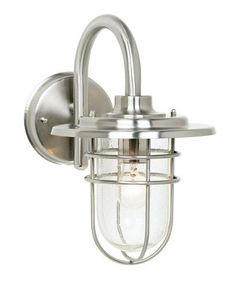 """Stratus Collection 12 3/4"""" High Indoor - Outdoor Wall Sconce by John Timberland. $99.99. An industrial-looking, brushed steel wall light from the John Timberland Collection. The design features A beautiful seeded glass enclosure for added sparkle. Use indoors or as an outdoor wall sconce.. Save 33%!"""