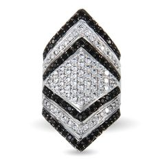 Sterling Silver Black and Clear CZ Diamond Shape Cocktail Ring