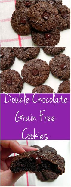These Grain Free Double Chocolate Cookies are decadent and rich. Nobody will guess they are #GLUTENFREE #PALEO + #VEGAN - Ceara's Kitchen