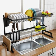 Over Sink Dish Drying Rack Drainer Shelf Stainless Steel Kitchen Cutlery Holder Tidy Kitchen, Kitchen Cutlery, Kitchen Dishes, Kitchen Shelves, Kitchen Storage, Kitchen Gadgets, Kitchen Cabinets, Kitchen Layout, Kitchen Sinks