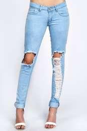 Kelly Light Stone Wash Ripped Leg Skinny Jeans alternative image