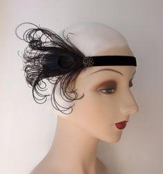 1920's headband flapper headband in black and red by owllamode