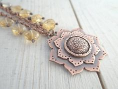 Copper Lotus Necklace by Lost Sparrow Jewelry