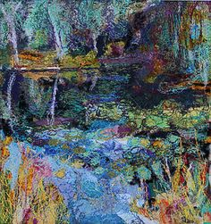 'Reflections' -Original Contemporary Framed Textile Landscape Artwork   eBay AWESOME