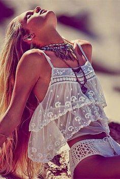 Boho beachwear- not your average everyday bikini- Femme Fatale crop top & crocheted bottoms sold separately- Free People- May Catalog. Boho Fashion Summer, Look Fashion, Womens Fashion, Bohemian Fashion, Beach Fashion, Vogue Fashion, Sweet Fashion, Fashion 2015, Cheap Fashion