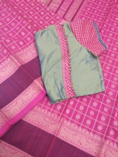 Pure chettinadu cotton saree with designer blouse WhatsApp 9047090885 tanvika sarees Pattu Saree Blouse Designs, Simple Blouse Designs, Stylish Blouse Design, Fancy Blouse Designs, Blouse Neck Designs, Blouse Styles, Designer Blouse Patterns, Sarees, Blouses