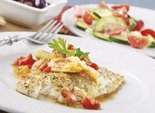 Athenian Fish with Cucumbers and Tomatoes - Publix Aprons Simple Meals Fish Recipes, Seafood Recipes, Dinner Recipes, Ww Recipes, Vegetarian Recipes, Healthy Recipes, Publix Aprons Recipes, Hummus And Pita