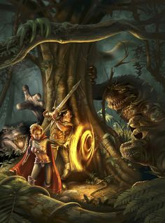 """""""Slaad Attack,"""" loading-screen artwork from Neverwinter Nights."""