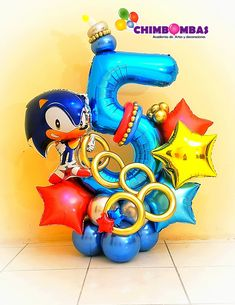Sonic Birthday Parties, Superman Birthday Party, Sonic Party, 5th Birthday, Party Ballons, Birthday Balloons, Birthday Party Decorations Diy, Balloon Decorations Party, Balloon Arrangements