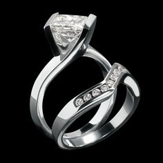 """Another John Atencio """"Intrinsic"""" engagement ring and band"""