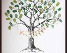 Hochzeit Fingerabdruck-Baum MIT BUNTING
