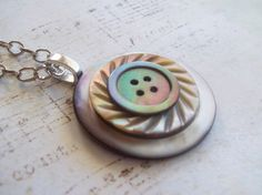 Button Necklace with Vintage Mother of Pearl & by DixiesNightOwl, $19.00