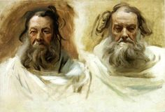"""The Athenaeum - Study for Two Heads for Boston Mural """"The Prophets"""" (John Singer Sargent - )"""
