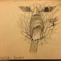 Even though it's only mentioned once, and there isn't really that much description about the mad gate, it's going to become quite important I think later on in the Outsider series, and it was one of the first geographical locations of Ammasteinn which I had a very clear image of in my head. So I just had to sketch it!