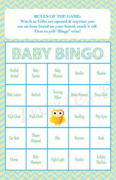 BABY SHOWER GIFT BINGO!!  This is the perfect game for your guests to keep them interested during the sometimes long process of gift opening