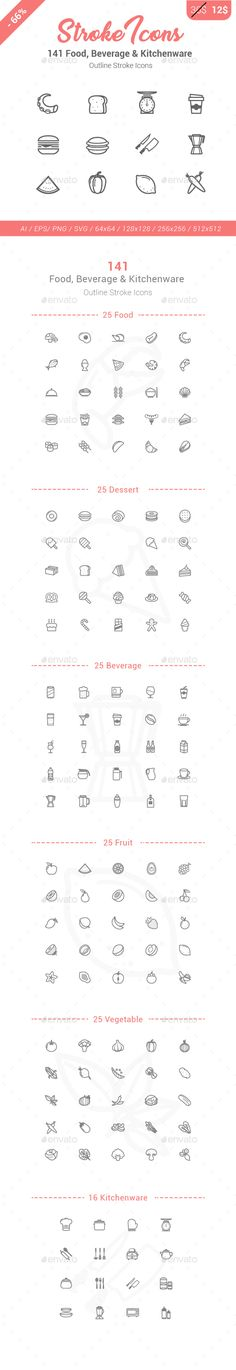 141 food drink kitchen stroke icons photoshop psd vector eat