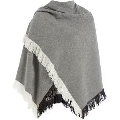Burberry Shoes & Accessories Striped Wool-Cashmere Poncho ($1,075) ❤ liked on Polyvore featuring outerwear, stripes, fringe poncho, burberry poncho, burberry, striped poncho and black and white poncho