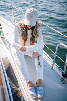 Gal Meets Glam Sail Away With Me - 360 Sweater Knit, Old Navy jeans, Soludos espadrilles, Tuckernuck hat, & Rayban sunglasses