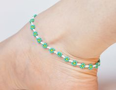 Flower Anklet, Seed Bead Ankle Bracelet, Turquoise Anklet, Beaded Anklet UK