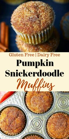 These gluten free and dairy free snickerdoodle muffins are super easy to make. A one bowl recipe thats a perfect treat for fall. An incredibly delicious snickerdoodle muffin recipe. Gluten Free Sweets, Gluten Free Cakes, Gluten Free Baking, Bon Dessert, Pumpkin Dessert, Foods With Gluten, Pumpkin Spice, Pumpkin Pumpkin, Vegan Pumpkin