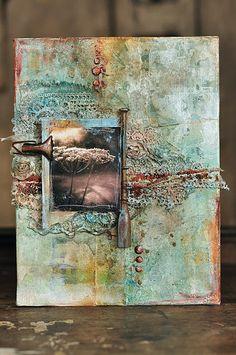 Zinc plot: a Mixed Media Artwork, Mixed Media Collage, Mixed Media Canvas, Collage Art, Mixed Media Techniques, Art Journal Techniques, Altered Canvas, Altered Art, Gesso Art