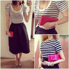 Barbie Style - look - midi black skirt , stripes and pink clutch