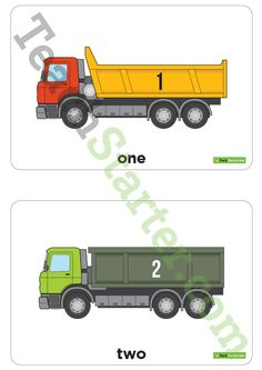 Teaching Resource: A set of dump truck themed number cards to use in the classroom when counting from 1 to 20.
