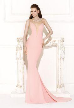 Glamorous Backless Mermaid Sleeveless V Neck Pearls Long Formal/Evening Dress
