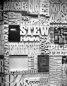 """Lou Dorfsman and Herb Lubalin's """"Gastrotypographicalassemblage.""""  Watch the video at http://thecenterfordesignstudy.com/about.htm"""