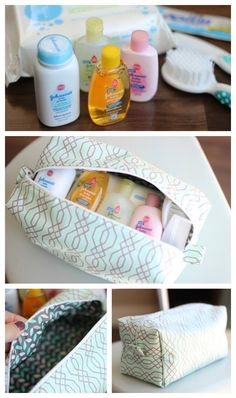This zippered pouch is the perfect size for a small package of wipes, a diaper or 2 and a few other travel items. And it tucks neatly inside a diaper bag! So cute for a new momma! Also doubles as a makeup bag. Baby Sewing Projects, Sewing Tutorials, Tutorial Sewing, Sewing Ideas, Diaper Bag Tutorials, Diy Diapers, Makeup Bag Organization, Makeup Storage, Pouch Tutorial