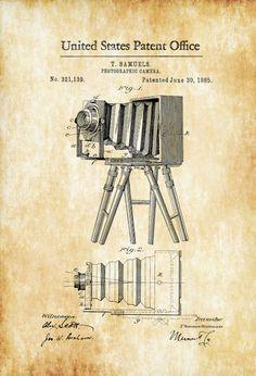 Photographic Camera Patent 1885 Patent Print by PatentsAsPrints