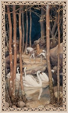 View Mythical scene by Alan Lee on artnet. Browse upcoming and past auction lots by Alan Lee. Alan Lee, Art And Illustration, Book Illustrations, Fairytale Fantasies, Fairytale Art, Fantasy Kunst, Fantasy Art, Swans, Images Vintage