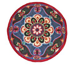 Farmhouse Flower Round Rug