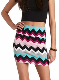 Charlotte Russe Bodycon Chevron Mini Skirt on shopstyle.com