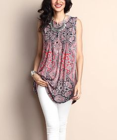 Another great find on #zulily! Pink Paisley Notch Neck Pin Tuck Sleeveless Tunic #zulilyfinds