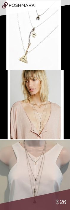 NWT Free People Waterfall tier necklace New with sticker tag! Layered waterfalls necklace by Free People. Boho vibe. 18 Free People Jewelry Necklaces