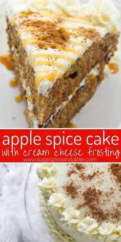 The BEST Spice Cake Recipe you will ever make Apple Spice Layer Cake with Cream Cheese Frosting, a delicious fall dessert that will impress your guests and is super easy to make and decorate Apple Desserts, Fall Desserts, Apple Recipes, Apple Fruit, Vegan Recipes, Spice Cake Recipes, Dessert Recipes, Recipe Spice, Cheesecake Recipes