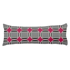 """Art Deco Does Morocco in Black, Gray and Raspberry - With a nod to the influence Moroccan Design on the Western Artists  during the 'Roaring Twenties' who pioneered the """"Art Deco"""" movement, HoMeArts created this design on this cool body pillow w/ traditional shapes seen in Moroccan architecture & decor. The warm shades of black, gray, cream & raspberry add to the retro feel & urban sophistication. A variation is on the back that includes pale gray hearts."""