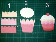 "Cut three lines of `Border Punch, 2 - and paste one above the other, and then cut diagonals on each side, and match the size above using a Scallop Punch ,,, 3 - Cut a little tube cutting, add"" Cherry, slightly shade the bottom"
