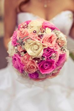 Pink Glamour, paper flowers bouquet