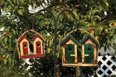 Small His-and-Hers Outhouse Bird House from DutchCrafters Amish Furniture. Lovingly crafted in Amish country, add some tongue-in-cheek humor to your backyard with this wooden hanging birdhouse. Available in 4 colors. #birdhouse #wooden #unique #backyard #inthegarden