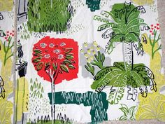 VINTAGE PAIR MOD RETRO TIKI BAR BARK CLOTH CURTAINS TROPICAL PALM TREES