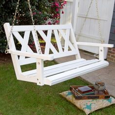 Porchgate Amish Made Haven White Painted Swing Patio
