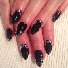 #gel fill for Monica! black w/ rainbow foil #gelnail #nails #nailart #nailswag #nailtech #nailartoohlala #Shakiranailedit #SparkleSF