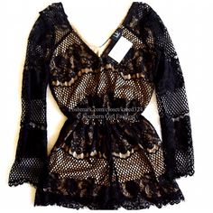 """LIV LOS ANGELES Romper Lace V Neck Long Sleeve Top Size small. New with tags. $162. Color: Black/nude.  Stunning lace romper with elastic waist and v neck. 60% Cotton, 40% Nylon.  Dry clean only.  Measurements for size Small: Waist (elastic): 26"""" Bust: 34"""" Hips: 35"""" ❗️ Please - no trades, PP, holds, or Modeling.   ✔️ Reasonable offers considered when submitted using the blue """"offer"""" button.    Bundle 2+ items for a 20% discount!    Stop by my closet for even more items from this brand! LIV…"""