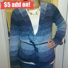 3/$15! ⭐ Heavy knit sweater w/ belt & hood Blue ombre stripes. Can wear it open or belt it. Heavy knit. Hood. Comes with original blue tie belt.  I think this is a Juniors Medium (and may have shrunk a little), so it fits like a women's Small.   3/$15! ⭐or ⭐ $4 add-on ⭐Just ask! Next Era Sweaters
