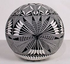 "Acoma Pueblo Pottery 7 1 4 ""H x 7 5 8""w Fine Line Seed Pot by Corrine Chino"